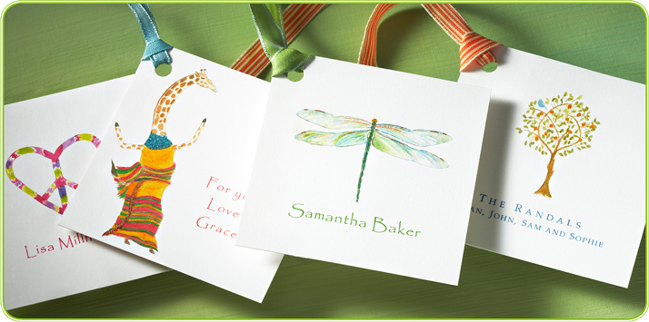 personalized gift tags for adults with a matching ribbon