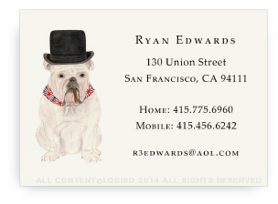 English Bulldog Calling Card