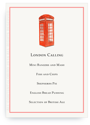 menu card London Phonebooth