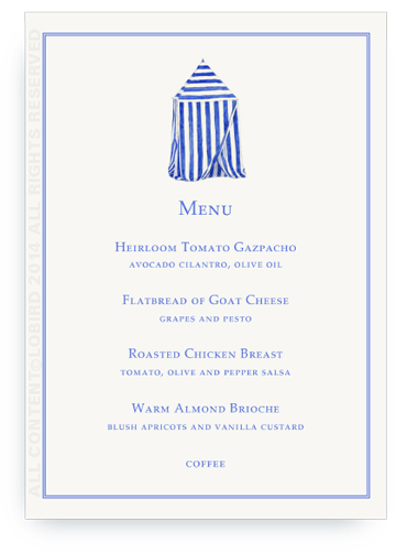 menu card beach cabana