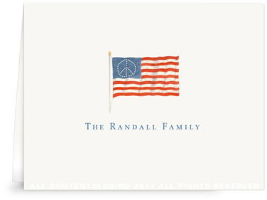American Flag folded notecard
