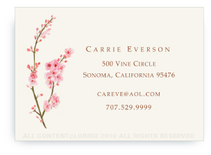 Personalized illustrated calling cards for adults by laurie rohrbach cherry tree blossom colourmoves