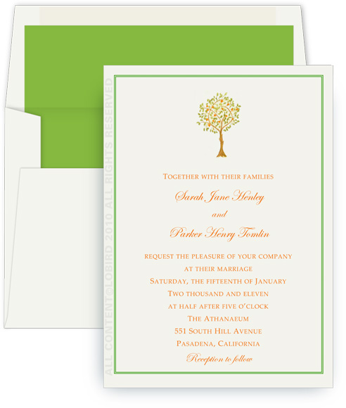 coral wedding invite