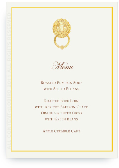 fall luncheon menu card