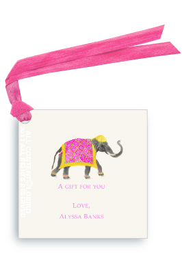 Festive Elephant with Bead Tapestry-fuchsia