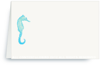 turquoise seahorse placecard