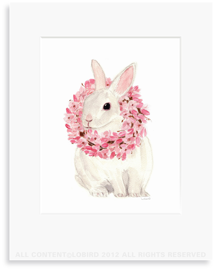 White Rabbit with Magnolia Wreath