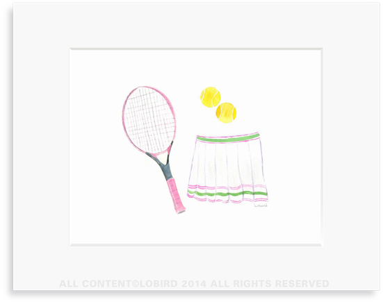 Pink Tennis Racket and Skirt