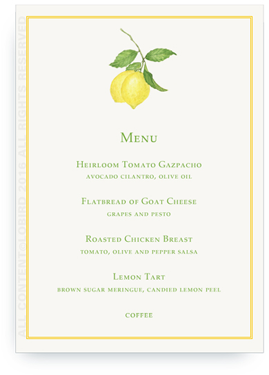 Lemon Branch Menu