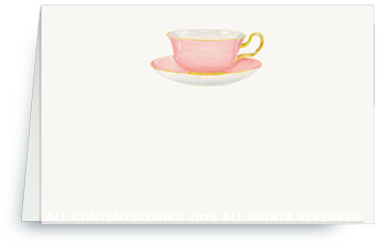 pink tea cup placecard